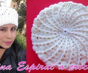CURSO GRATIS DE Como hacer Boina a crochet en punto Espiral y relieves PASO A PASO
