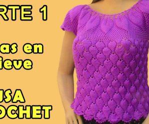 CURSO GRATIS: Blusa a crochet en punto hojas en relieves 3D  paso a paso