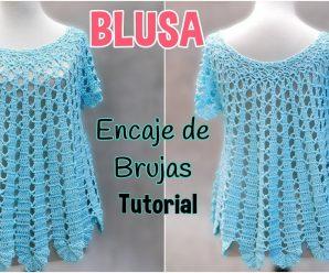 CURSO GRATIS: Tejer una hermosa blusa amplia a crochet – Encaje de Brujas