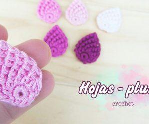 Como hacer una Hoja o pluma a crochet (muy fácil) Paso a paso😱