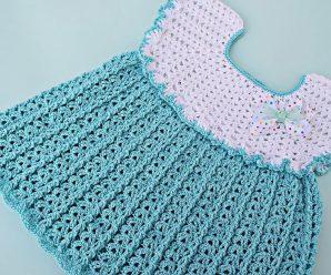 SUPERCURSO GRATIS Vestido de niña a crochet con punto de abanicos