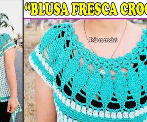 Aprende a Tejer Bella BLUSA a Crochet Superfacil