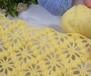 Como Tejer Manta a Crochet con Patron Pistacho paso a paso